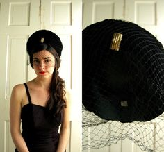 1930s Black Velvet Hat / Vintage Veiled Black by DalenaVintage, $75.00 - FashionFilmsNYC.com