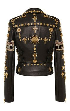 Fausto Puglisi - Embroidered Leather Biker Jacket