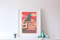 Godzilla vintage offset print #godzilla #gojira