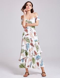 efa01366b370 Alisa Pan Tropical Print Off Shoulder Maxi Dress