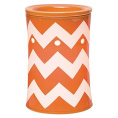 Current yet classic, #Chevron Orange features crisp white zigzags cutting across a bright background of cheerful #orange. #JustAWickAway #Scentsy
