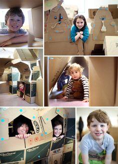 Warsztaty dla rodzin - budowanie labiryntu z pudeł kartonowych, przy użyciu systemu makedo.