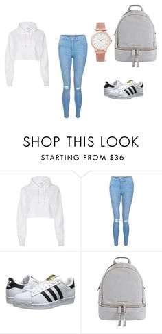 """""""school outfit"""" by livelikelexi-12 on Polyvore featuring River Island, New Look, adidas Originals, MICHAEL Michael Kors and Larsson & Jennings"""