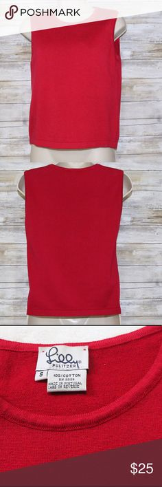 Lilly Pulitzer red 100% cotton top sz S Lilly Pulitzer red sleeveless top 100% cotton  sz S Gently Worn Lilly Pulitzer Tops