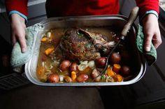 Braised Leg of Lamb  Recipe, Saveur (leg of lamb, red potatoes, garlic, carrots, rosemary, bay leaves, onion, stock, white wine, parsley)