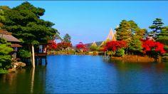 Red foliage at the Kenroku Garden, Kanazawa, Japan