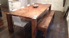 The Modern Harvest Table Love the table and bench. Need different chairs. Harvest Tables, Kitchen Design, Projects To Try, Dining Table, Cottage, Interior, Modern, Bench, Chairs
