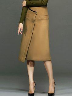 #AdoreWe #StyleWe Chocolatone Camel Simple Asymmetric Midi Skirt - AdoreWe.com