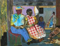 Romare Bearden - Mecklenburg Evening 1984  Collage on Masonite  9 1/4 x 12 inches