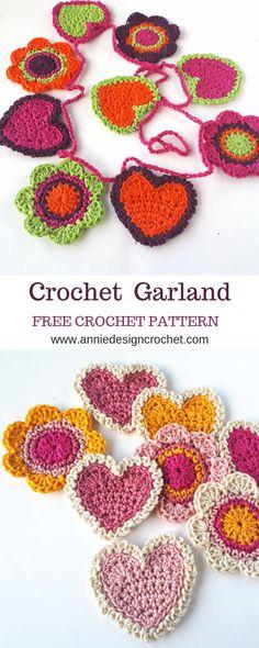 Crochet Garland for Valentine's Day – Free Crochet Pattern – Annie Design … – Amigurumi Free Pattern İdeas. Crochet Gifts, Easy Crochet, Crochet Baby, Free Crochet, Irish Crochet, Free Knitting, Crochet Hearts, Knitting Ideas, Knitting Yarn