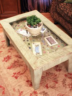 display coffee table with glass top, reclaimed wood, rustic