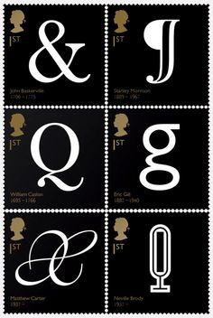 Royal Mail. Famous British Typographers. John Baskerville, Stanley Morrison, William Caslon, Eric Gill, Mathew Carter, Neville Brody.