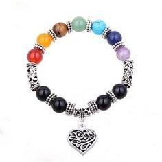 """""""ISHOW 7 Chakra Healing Balance Stone Beaded Bracelet"""""""