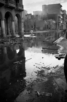 Port Said in ruins after the air attack. 1956
