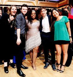 Ashley Finck, Chris Colfer, Kevin McHale, and Jenna Ushkowitz came to support Amber Riley on DWTS!!!! How Sweet! <3