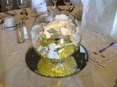 Bubble fishbowl centrepiece with orchids and lemon water pearls available to hire in The Midlands from Make It Special Events. http://www.makeitspecialevents.co.uk/