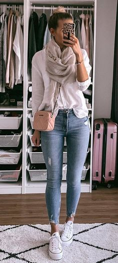 gray fringe scarf #spring #outfits