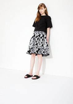 Le Ciel Bleu cotton linen top and leaf jacquard flared skirt