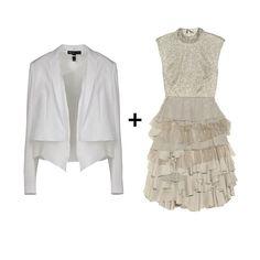 flirty ruffled dress + sleek white jacket