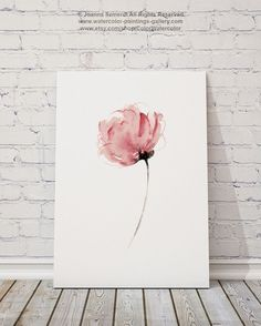 Watercolor Flower Abstract Art Print Pink by ColorWatercolor
