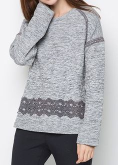 Round Neck Lace Panel Grey T Shirt on sale only US$29.69 now, buy cheap Round Neck Lace Panel Grey T Shirt at liligal.com