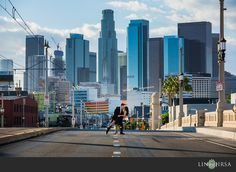 Definitely want a shot with the whole skyline. Time of day is beautiful.  Downtown+Los+Angeles+Engagement+|+Josh+