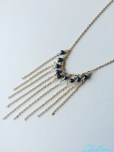 #necklace #handmadenecklace #handmadejewelry #jewelry #gold #fringe #spinel #spinelbeads #blackbeads #goldnecklace #fringenecklace #whitequartz