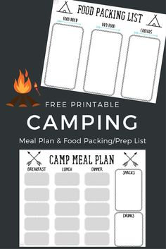 Camping meal plan and camping food list / menu plan for packing and prepping camp food ideas! via Free printables! Camping meal plan and camping food list / menu plan for packing and prepping camp food ideas!