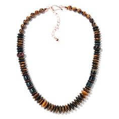 """Jay King Mixed Tiger's Eye Copper 20"""" Necklace at HSN.com."""
