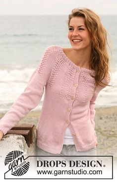 "Knitted DROPS jacket with rounded yoke with lace pattern in ""Muskat"". Size: S - XXXL. ~ DROPS Design"