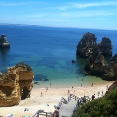 Praia do Camilo - Lagos, Algarve, #Portugal #beach  Its amazing that even in the high season these magnificent beaches are not over crowded! Unique gems indeed..