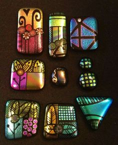 Lyn Owens! Fused Glass Jewelry, Resin Jewelry, Glass Pendants, Jewellery, Etched Glass, Glass Etching, Glass Magnets, Olive Oil Bottles, Porcelain Clay