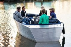 Developed by Amsterdam based design company SpringTime, the Stroom is an electric aluminum boat, tailor-made for sailing along canals and inner waters. Being built in aluminum makes the boat virtually indestructible and fully maintenance-free. 8 Passengers, Electric Boat, Enjoy The Silence, Aluminum Boat, Sustainable Design, Spring Time, Over The Years, Sailing, Branding