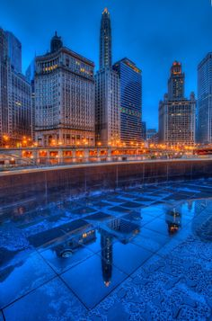 Chicago Winter Reflections- stay warm out there! Chicago Travel, Travel Usa, Chicago Illinois, Chicago Riverwalk, Chicago Winter, Destinations, My Kind Of Town, Night City, Most Beautiful Cities