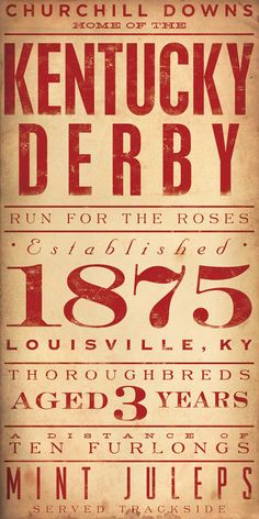 Kentucky Derby Horse Racing Winners typography graphic artwork on 12 x 24 canvas by Gemini Studio. $125.00, via Etsy.