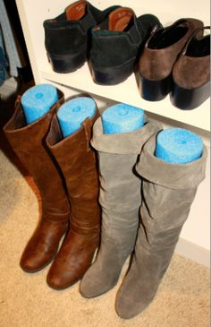 Boot Storage Solution ~ cut inexpensive pool noodles to help your boots stand upright. Brilliant. and they only cost a couple of dollars!