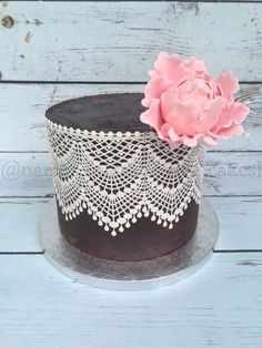 Very simple ganache cake with edible lace and a gumpaste peony. Edible Lace, Edible Glitter, Cake Pictures, Cake Pics, Lace Cakes, Ganache Cake, Colorful Cakes, Elegant Cakes, Gum Paste