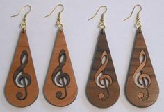 Earrings with treble clef inlays                                                                                                                                                                                 More