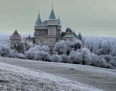 Bojnice Castle in Winter - another view Bratislava, Destinations, Luxury Estate, Fantasy Inspiration, Capital City, Amazing Architecture, Vacation Trips, Beautiful Places, Places To Visit
