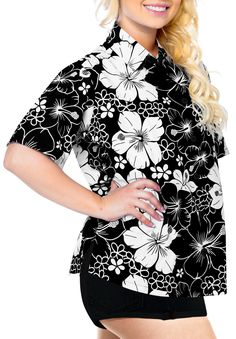 19d061b869f5d HAPPY BAY Women s Beach hawaiian button down blouse casual tank top aloha  Shirt Black X2 Beach