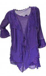 AP Layered Vintage Blouse In Purple