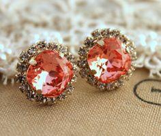 Pink peach Crystal stud Petite vintage earring - 14k plated gold post earrings real swarovski rhinestones .