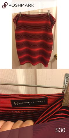 Plus Size Striped Body-Con Skirt Fashion to Figure Red and black striped body-con skirt. High waisted and midi length. Matching top available. Has one zipper in the back. Photo of someone wearing it available on request. Fashion to Figure Skirts Midi
