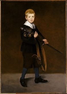 Édouard Manet (French, 1832–1883). Boy with a Sword, 1861. The Metropolitan Museum of Art, New York. Gift of Erwin Davis, 1889 (89.21.2) | Manet's stepson, Léon Koëlla-Leenhoff, recalled that he had posed for this picture in 1861, when he was about ten years old. Manet dressed him in a seventeenth-century costume, adding a period sword as a prop—a tribute to the great Spanish painters he admired, notably Velázquez. #sword