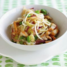 Chicken, Edamame, and Noodle Stir-Fry:  if you can't find udon noodles for this one-bowl Japanese-style dinner with boneless chicken breasts, use linguine or other favorite pasta -- just break the noodles in half before boiling them. Edamame are green soybeans.