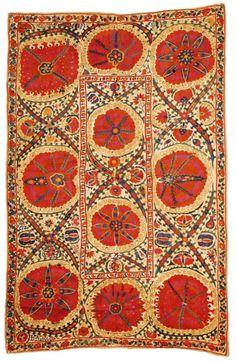 A Bukhara large-medallion Suzani embroidery, Uzbekistan,third quarter 19th century, size 267 x 173cm.
