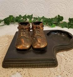 Vintage Bronze Baby Shoes, Vintage Baby Shoe and Base, Vintage Baby Decor, Nursery Decor, Baby Shower Decor, Gift Giving