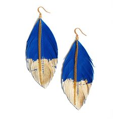 Fab.com | Leather Feather Earrings Blue