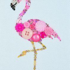 Button Art - Pink Flamingo - Vintage Button Art, Wall Hanging, Wall Art, Home…