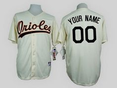f92906e9c Men s Baltimore Orioles Customized 1954 Turn Back The Clock Cream Jersey  Baltimore Orioles